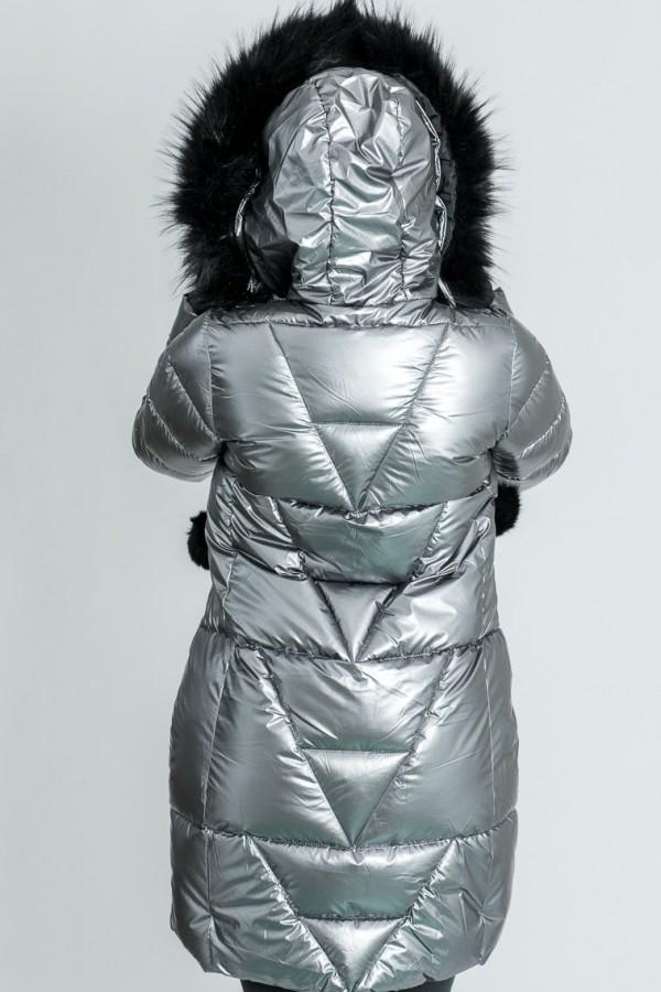 Топло яке с качулка в сребрист цвят