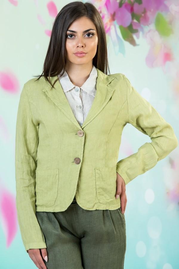 Ежедневно дамско сако от лен в зелен цвят