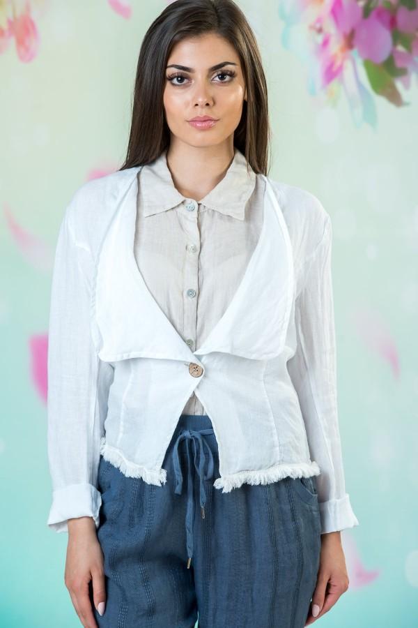 Бяло ежедневно дамско сако от лен