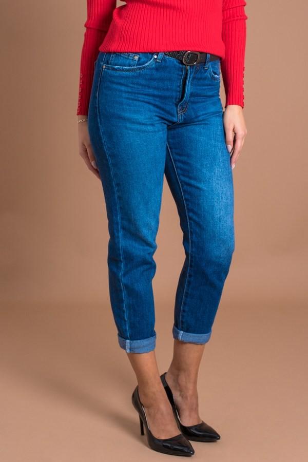 Дамски дънки с висока талия в синьо