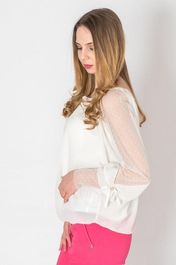 Бяла елегантна дамска блуза от шифон