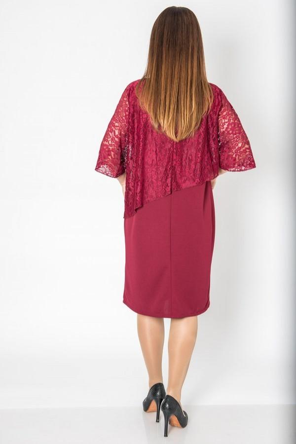 Права рокля с дантела в цвят бордо и 7/8 ръкав