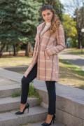 Карирано дамско палто с вълна в пастелен цвят