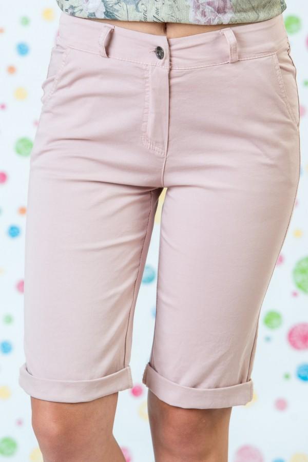 Къси памучни панталони в бледо розов цвят