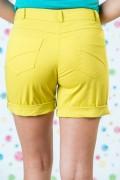 Дамски къс памучен панталон в жълт цвят