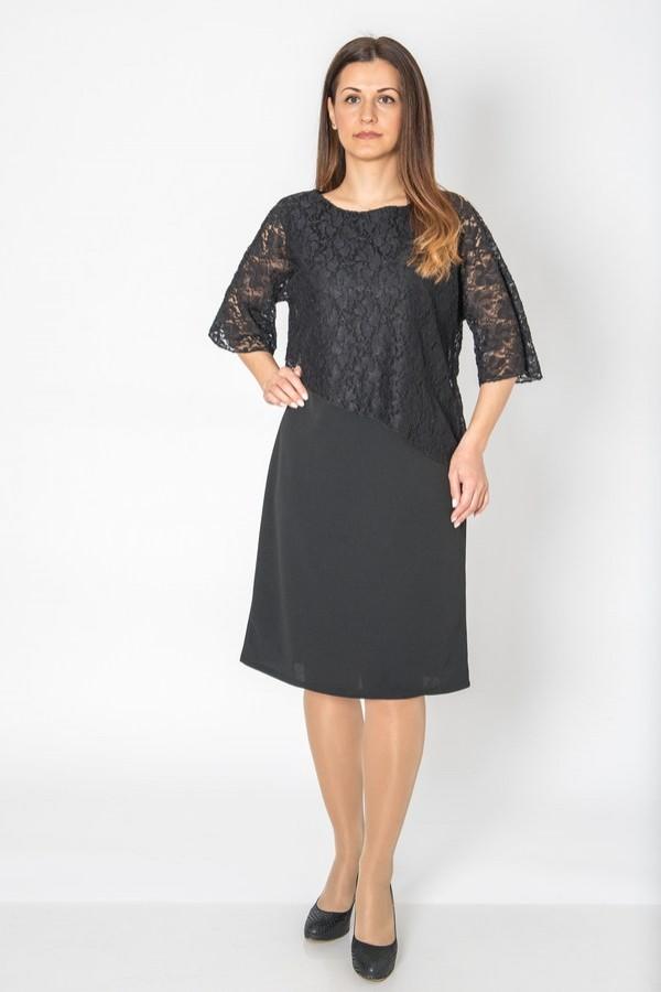 Макси елегантна дамска рокля с асиметрична дантела в горната част