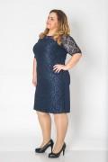 Класическа елегантна макси рокля в тъмно синьо
