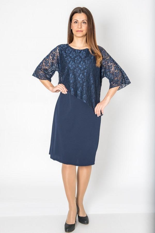 Тъмно синя макси рокля с дантела и 7/8 ръкав
