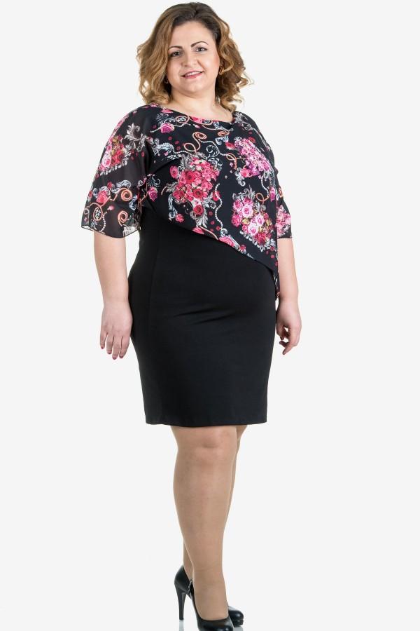 Елагантна рокля с шифон в черно