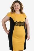 Стилна дамска рокля в цвят охра