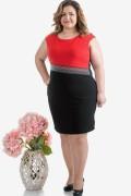 Макси дамска рокля в червено и черно