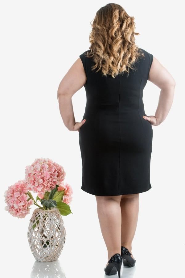 Макси дамска рокля в синьо и черно