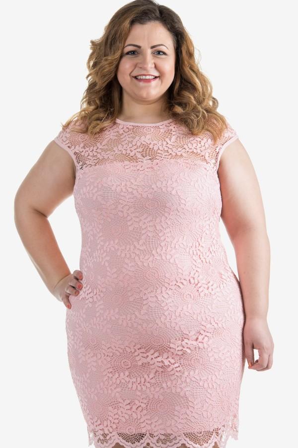 Дантелена елегантна макси рокля в розов цвят