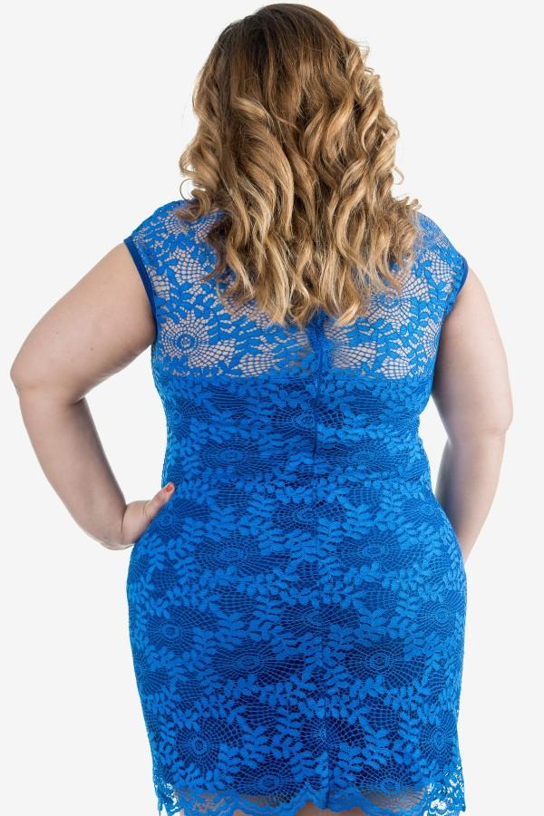 Дантелена макси рокля в кралско син цвят