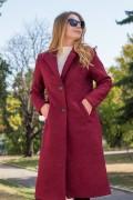 Елегантно дълго палто от букле в цвят бордо