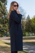 Черно дълго дамско палто от меко букле