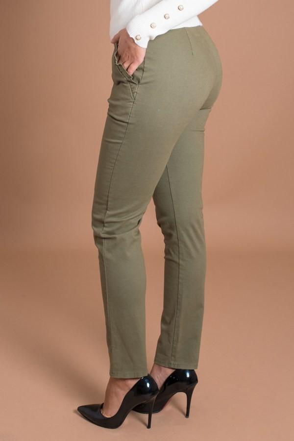 Дамски панталон с италиански джоб в цвят каки
