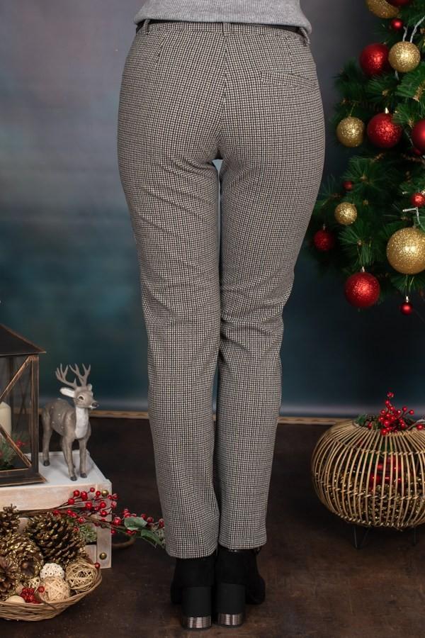 Спортен панталон с пепит десен бяло и черно