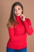 Дамска блуза рипс в червен цвят с поло яка