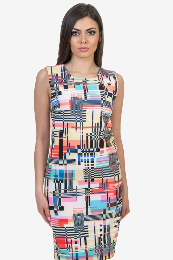 Елегантна дамска рокля в многоцветна шарка