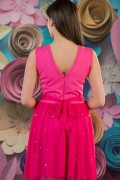 Елегантна дамска рокля с тюл и перли