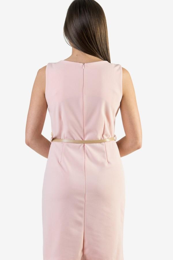 Ежедневна бледо розова дамска рокля