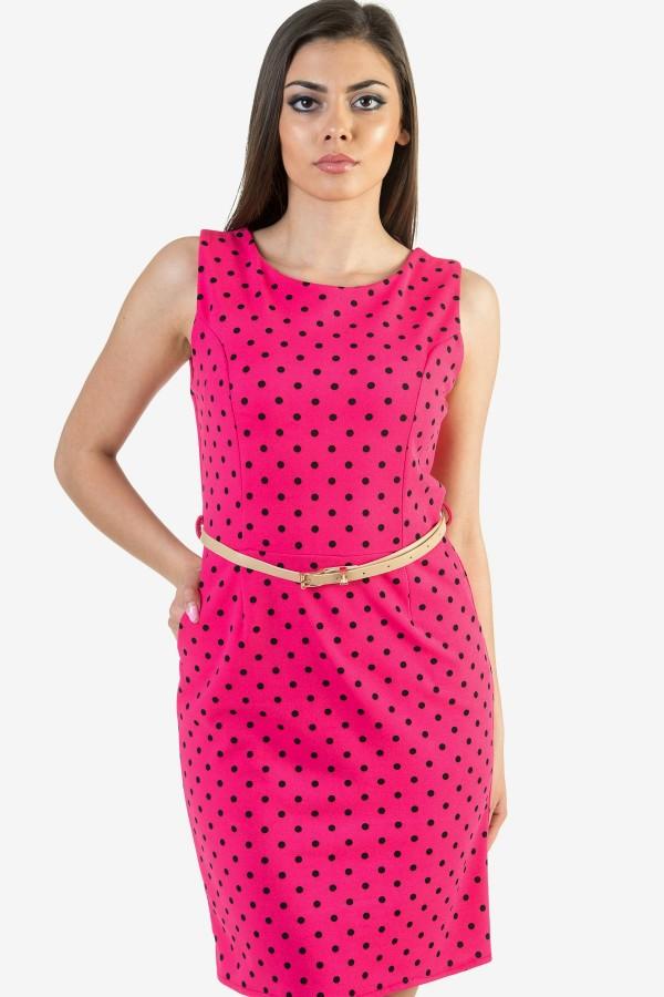 Ежедневна цикламена дамска рокля на точки