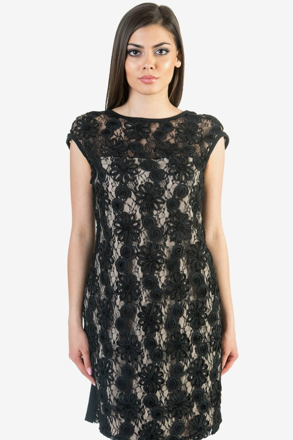 Макси черна дамска рокля от дантела и тюл