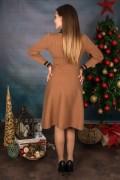 Дамска рокля в кафяво с ревер и копчета