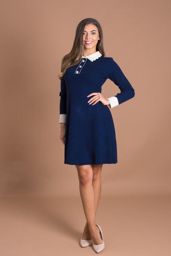 Дамска рокля фино плетиво в тъмно син цвят