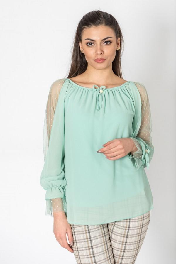 Шифонена дамска блуза с перли в млечно зелен цвят