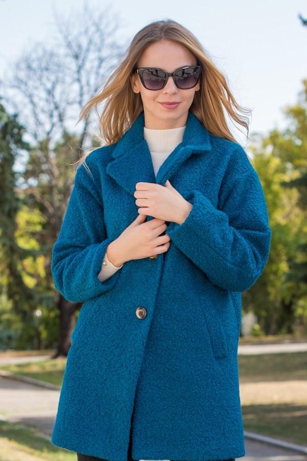 Елегантно палто с реглан ръкав в тюркоазено син цвят