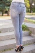 Еластични дънки с колан в сиво