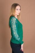 Дамски пуловер с дантелени ръкави в зелено