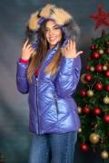 Късо дамско зимно яке с двуцветен пух на качулката